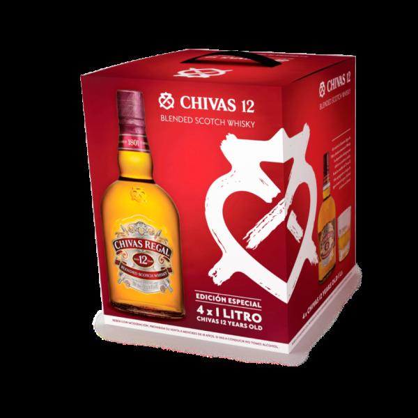 Pack de 4 Chivas Regal 12 Años Whisky 1 lt